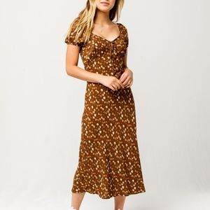 (NWT) Tilly's | Brown Floral Print Midi Dress